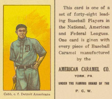 1915 American Caramel E106 Ty Cobb (With Bat, Facing Front) baseball card