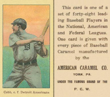 1915 American Caramel E106 Ty Cobb (With Bat, Facing To Side) baseball card