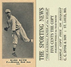 1916 (M101-4) Sporting News #151 Babe Ruth rookie card