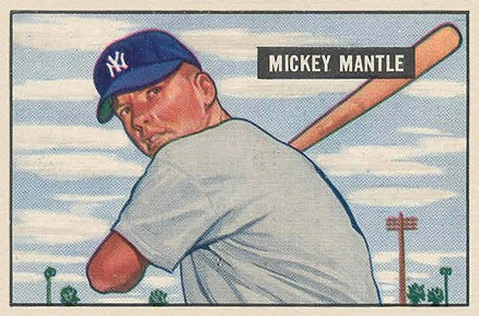 1951 Bowman #253 Mickey Mantle rookie card