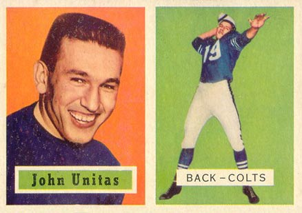 1957 Topps #138 Johnny Unitas rookie card