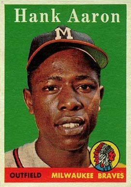 1958 Topps #30 Hank Aaron Baseball Card White Name