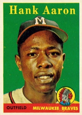 1958 Topps #30 Hank Aaron Baseball Card Yellow Name