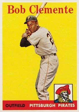 1958 Topps #52 Roberto Clemente Baseball Card (White Team Name)