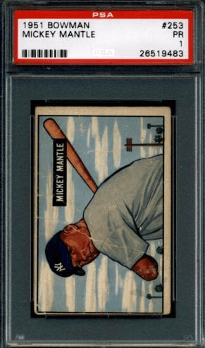 1951 Bowman Mickey Mantle graded PSA 1 Poor condition