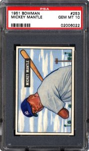 1951 Bowman Mickey Mantle graded PSA 10 Gem Mint condition