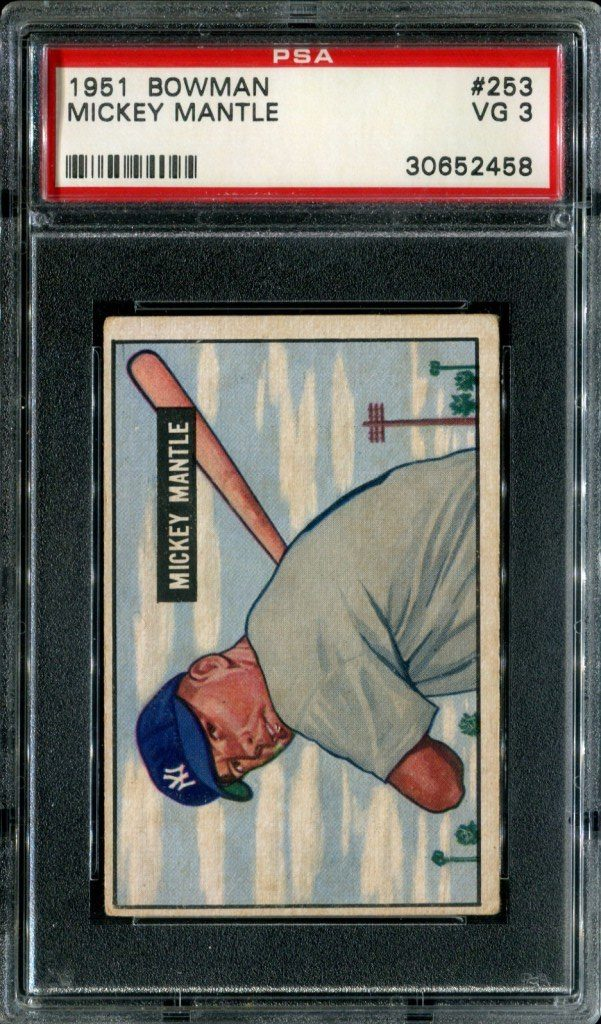 1951 Bowman Mickey Mantle graded PSA 3 Very Good condition