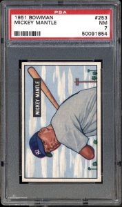 1951 Bowman Mickey Mantle graded PSA 7 Near Mint condition