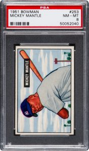 1951 Bowman Mickey Mantle graded PSA 8 Near Mint - Mint condition