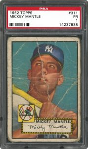 1952 Topps Mickey Mantle graded PSA 1 Poor condition