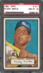1952 Topps Mickey Mantle graded PSA 10 Gem Mint condition