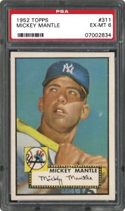 1952 Topps Mickey Mantle graded PSA 6 Ex-Mint condition