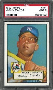 1952 Topps Mickey Mantle graded PSA 9 Mint condition
