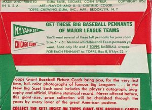 1952 Topps Baseball Pack (Reverse Side)