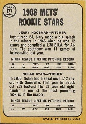 1968 Topps #177 Nolan Ryan Rookie Reverse Side