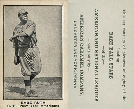 1921 American Caramel #94 Babe Ruth Baseball Card Name Shown As Babe Variation