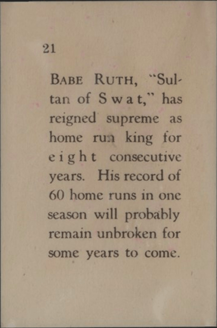 1929 Star Player Candy Babe Ruth Card Back Side