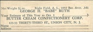 1933 Buttercream Babe Ruth Card Back Side