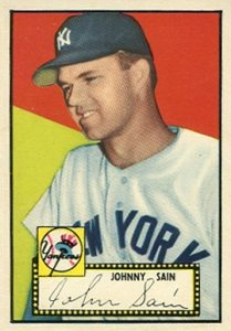 1952 Topps #49 Johnny Sain Baseball Card Wrong Back Error