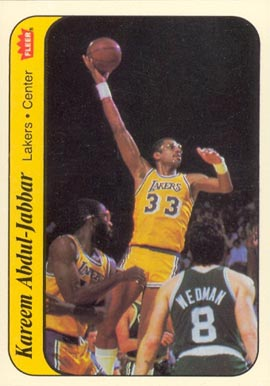 1986 Fleer Stickers #1 Kareem Abdul-Jabbar Basketball Card
