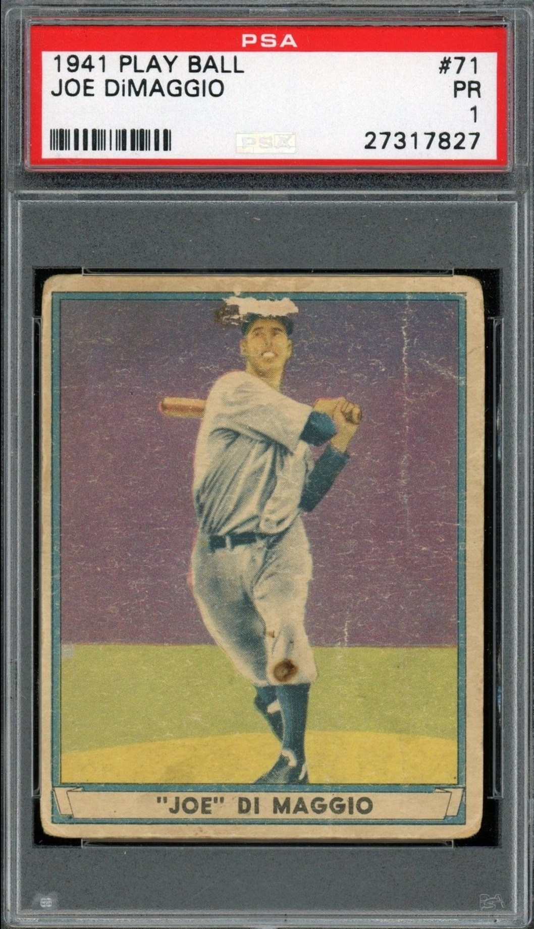 1941 Play Ball #41 Joe Dimaggio Baseball Card Graded PSA 1 Poor Condition