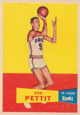 1957 Topps #24 Bob Pettit Rookie Basketball Card