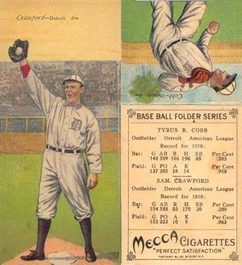 1911 M116 Sporting Life Ty Cobb Baseball Card With Pastel Background