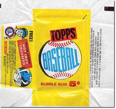 1960 Topps Baseball Card Pack Empty Wrapper