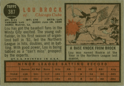 1962 Topps #387 Lou Brock Rookie Baseball Card Reverse Side With Statistics and Personal Info