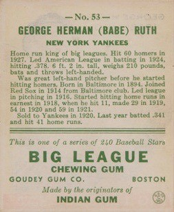 1933 Goudey #53 Babe Ruth Card Reverse Side