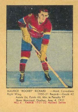 1951 Parkhurst #4 Maurice Richard Rookie Card