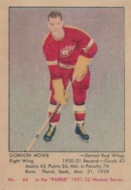 1951 Parkhurst #66 Gordie Howe Rookie Card