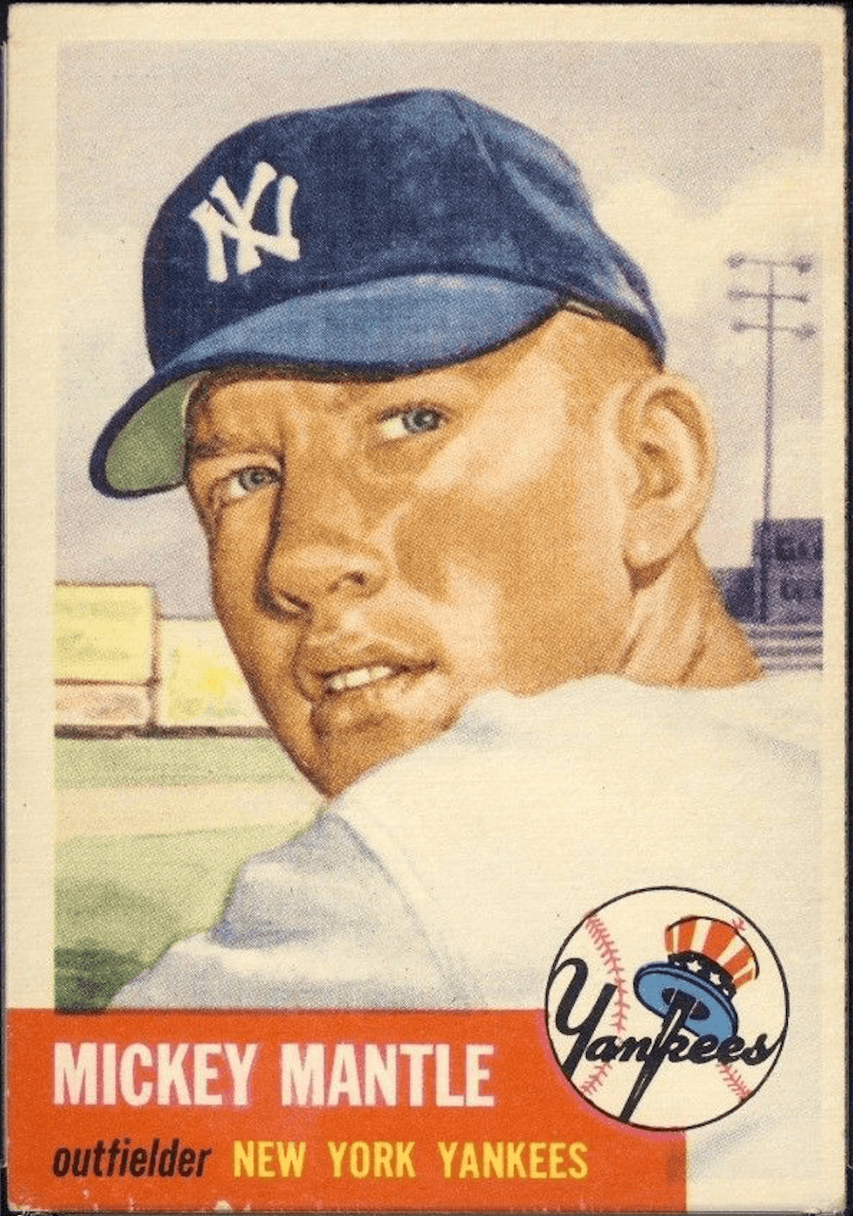 1953 Topps Mickey Mantle Baseball Card With Chipping on Edges and Poor Centering
