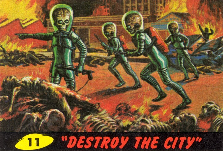 1962 Topps Mars Attacks Card #11 Destroy The City