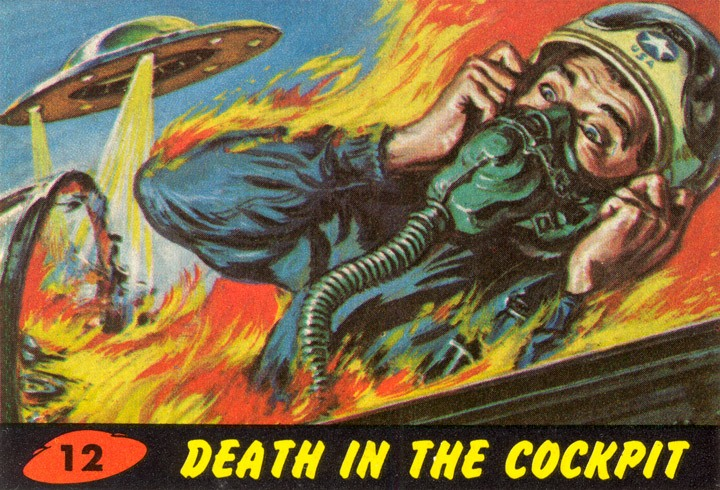 1962 Topps Mars Attacks Card #12 Death In The Cockpit