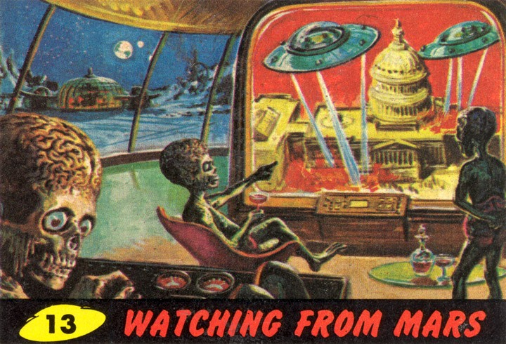 1962 Topps Mars Attacks Card #13 Watching From Mars