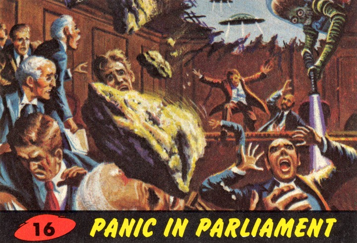 1962 Topps Mars Attacks Card #16 Panic In Parliament