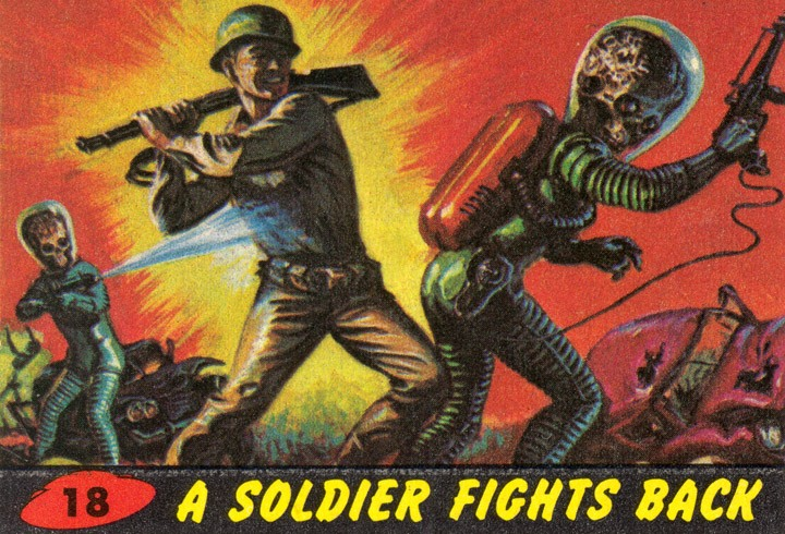 1962 Topps Mars Attacks Card #18 A Solider Fights Back