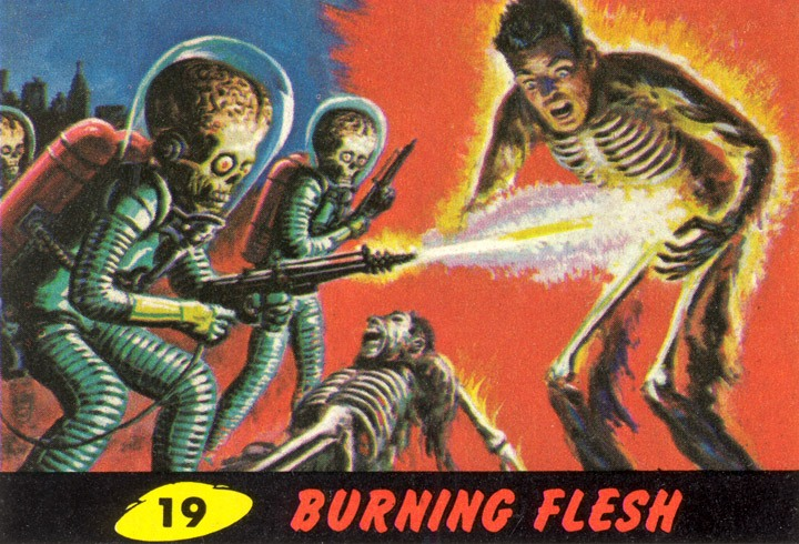 1962 Topps Mars Attacks Card #19 Burning Flesh
