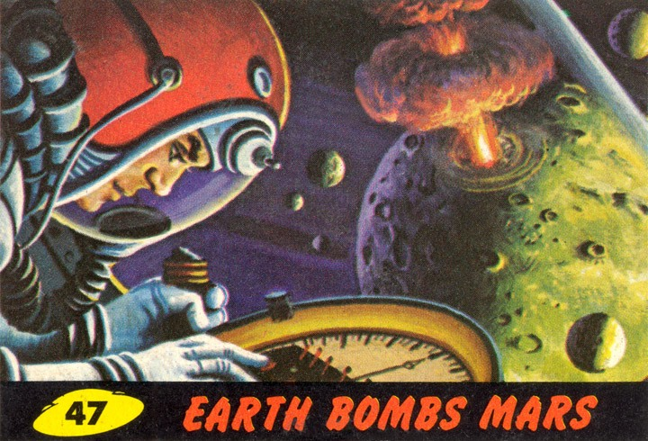 1962 Topps Mars Attacks Card #47 Earth Bombs Mars