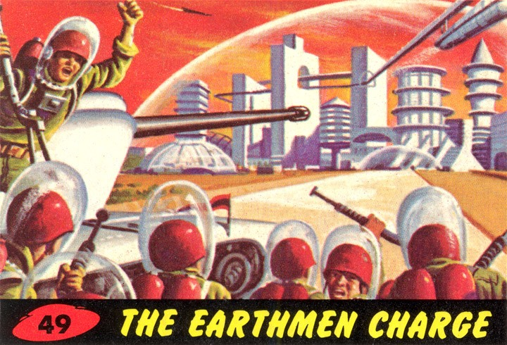 1962 Topps Mars Attacks Card #49 The Earthmen Charge