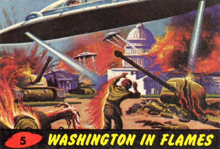 1962 Topps Mars Attacks Card #5 Washington In Flames
