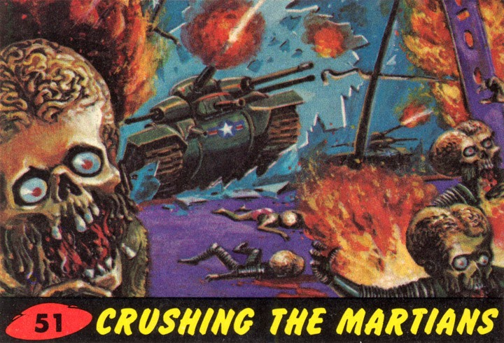1962 Topps Mars Attacks Card #51 Crushing The Martians