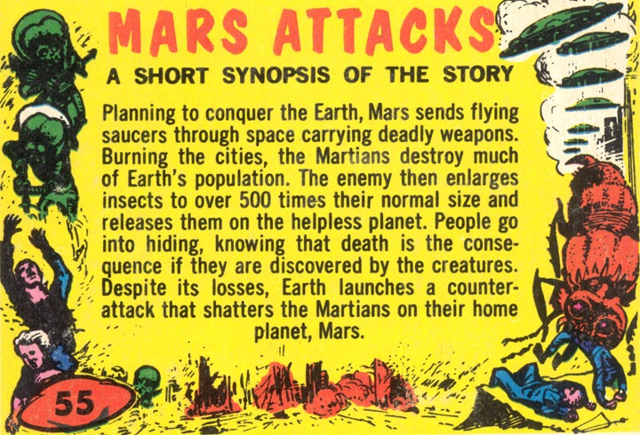 1962 Topps Mars Attacks Card #55 A Short Synopsis Of The Story