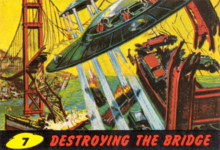 1962 Topps Mars Attacks Card #7 Destroying the Bridge