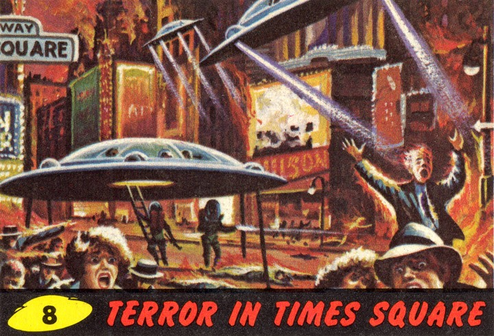 1962 Topps Mars Attacks Card #8 Terror In Times Square