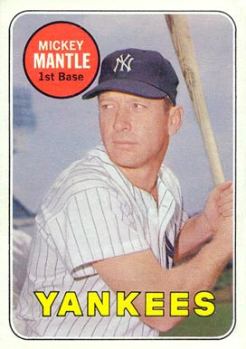 1969 Topps #500 Mickey Mantle Baseball Card Name In White Letters