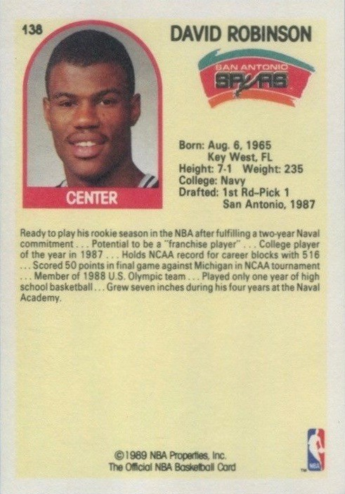 1989 Hoops #138 David Robinson Basketball Card Back With Stats and Biography