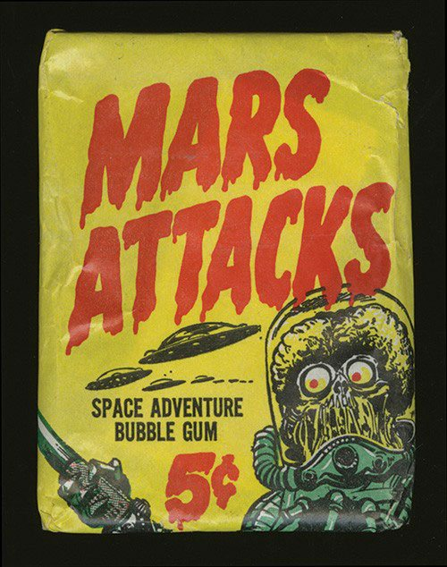 Unopened Five Cent Wax Pack of 1962 Topps Mars Attacks Cards