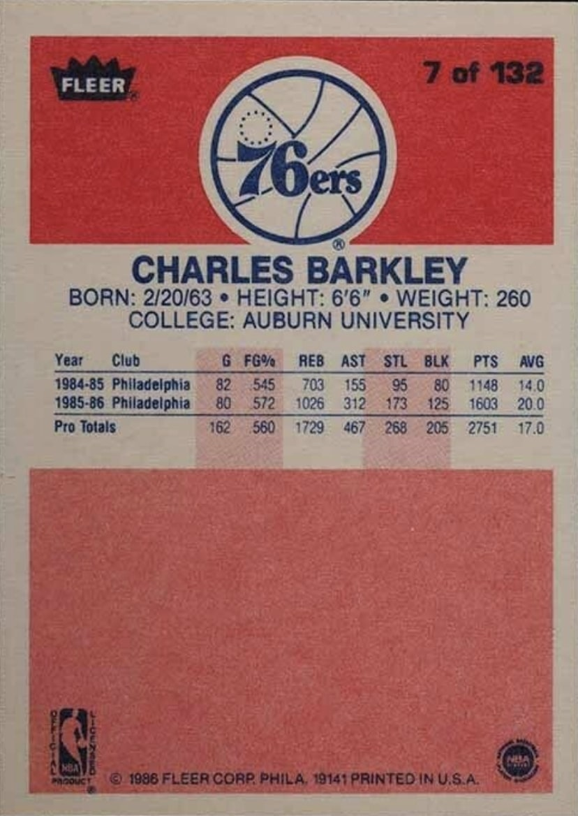 1986 Fleer #7 Charles Barkley Rookie Card Reverse Side With Stats and Biography